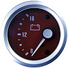 VYZ Voltmeter red Electric Short Sweep 8-16 volt 12 volt Through Dial brushed aluminium