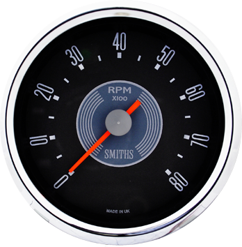 Smiths Motorcycle Tachometer Electric Full Sweep 0-8000 rpm  80mm 12 volt grey dial  chrome bezel