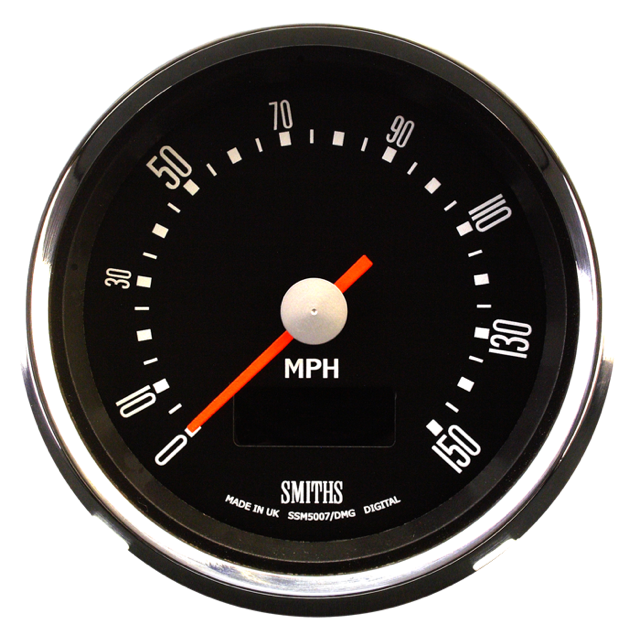 Smiths Motorcycle Speedometer Electric Full Sweep 0-150 mph  80mm 12 volt black dial  chrome bezel